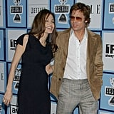 In February 2008, Angelina Jolie showed her baby bump to the world at the Independent Spirit Awards with Brad Pitt.