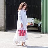 Style a White Dress With a Red Tote