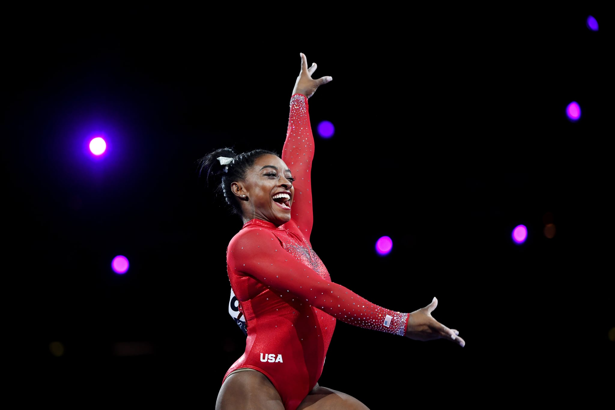 STUTTGART, GERMANY - OCTOBER 12: Simone Biles of United States reacts after her routine in Women's Vault Final in the Apparatus Finals during Day 9 of 49th FIG Artistic Gymnastics World Championships at Hanns-Martin-Schleyer-Halle on October 12, 2019 in Stuttgart, Germany. (Photo by Laurence Griffiths/Getty Images)