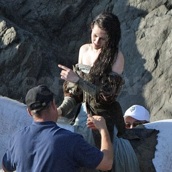 Kristen took direction from the crew.