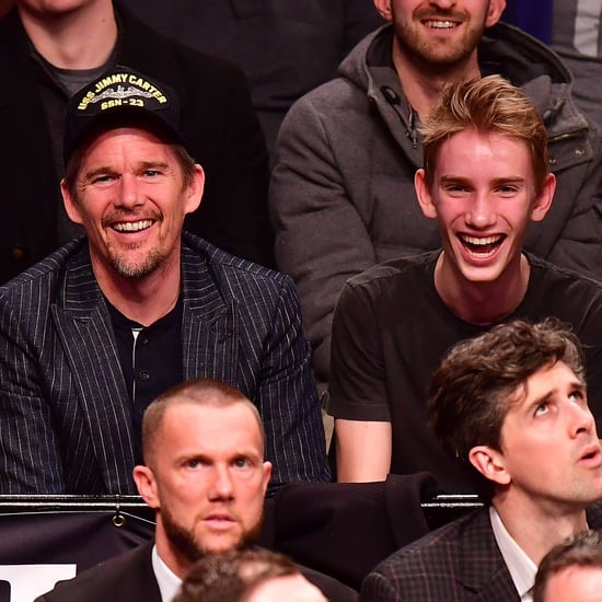 Ethan Hawke and His Son at Knicks Game in NYC March 2017