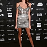 Kaia Wore a Form-Fitting Silver Aadnevik Dress For the Harper's Bazaar Party