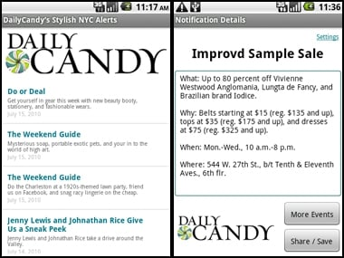 Daily Candy Android Shopping App