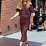Olivia repped one of her favourite brands in head-to-toe Tibi — and head-to-toe burgundy — for the Spring show.