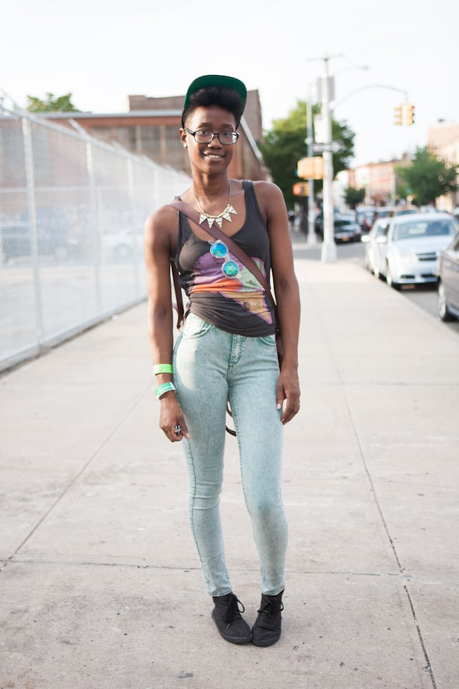 Statement necklaces, statement shades, cool-girl tee? Check, check, check. Source: Laura June Kirsch
