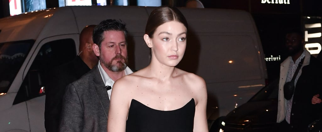 Gigi Hadid Black Prada Dress With Gigi Patch