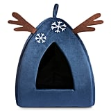 Hollypet Self-Warming 2-in-1 Cat Bed — Blue Reindeer