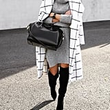 A Sweater Dress and Over-the-Knee Boots