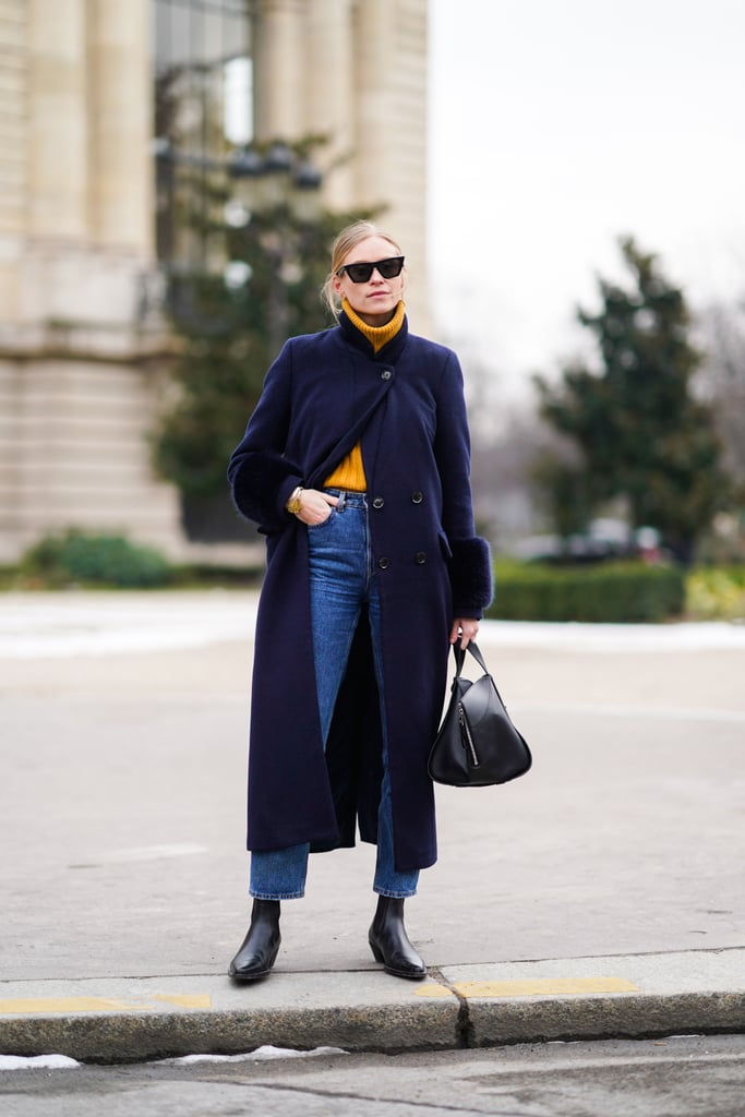 416e9eb813f8 Tuck a Yellow Turtleneck Sweater Into a Pair of High-Waisted Jeans ...