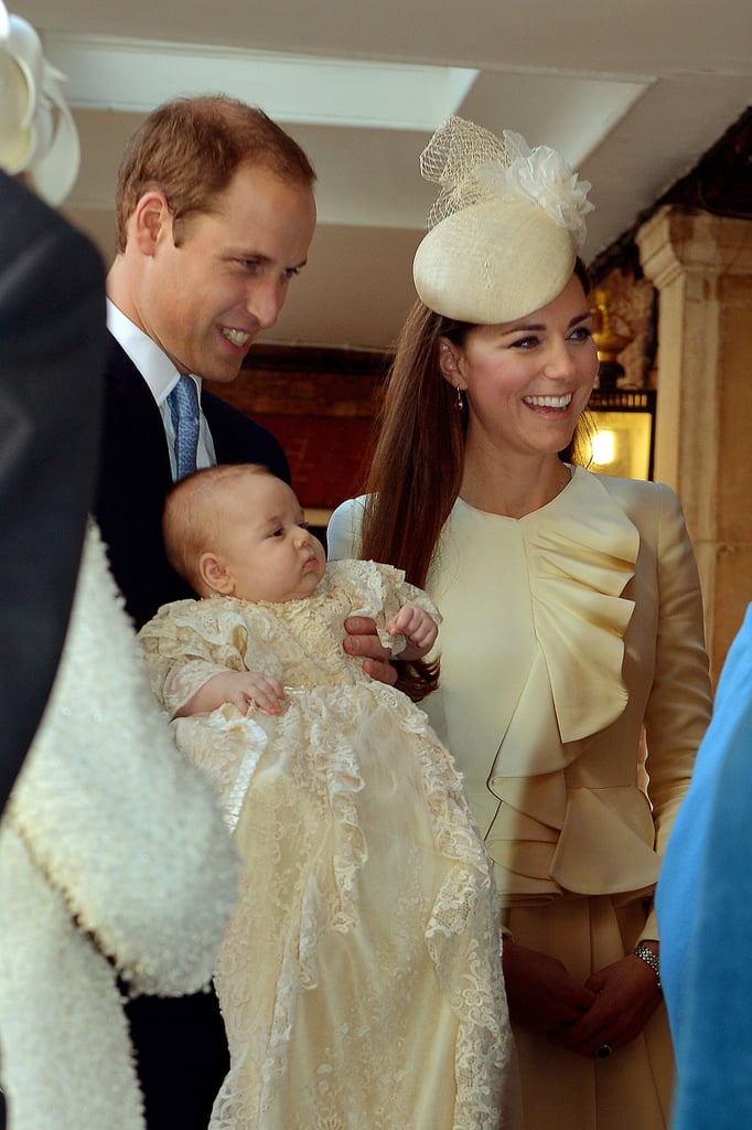 Kate Middleton and Prince William held Prince George ahead of his christening.