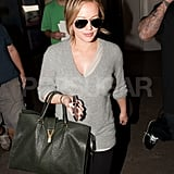 Hilary Duff arrived from a flight at LAX.