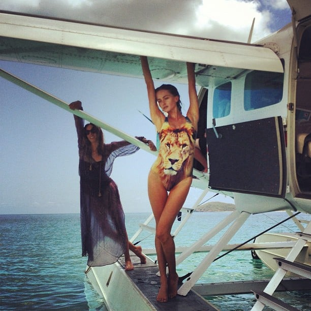Stylist Romy Frydman and model Annabella Barber hung out on a seaplane (as you do) wearing Zimmermann and We Are Handsome, for a shoot on Hamilton Island. Source: Instagram user stylemeromy