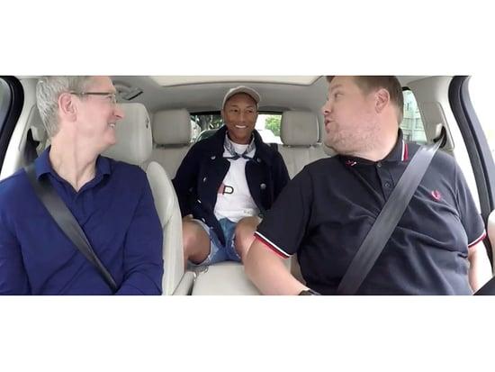 WATCH: Carpool Karaoke's James Corden and Pharrell Williams Help Tim Cook Launch the Water-Resistant iPhone 7