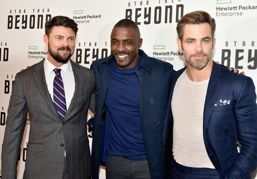 The gorgeous cast of Star Trek Beyond — Chris Pine, Idris Elba, and Karl Urban — all came together for the movie's NYC premiere on Monday night. Not only did they heat up the red carpet with their sexy smolders, but they showed off their sweet offscreen chemistry as they posed for photos together on the red carpet. Chris has been hamming it up lately while promoting his new film. Earlier this month, the actor attended a photocall in Australia, and days later, he popped up in the United Kingdom for the movie's debut. Keep reading for more pictures, then check out 25 snaps that prove Chris is the hottest Chris in Hollywood.