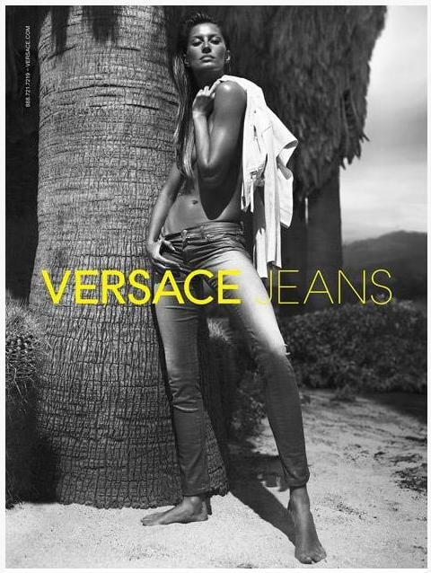 """Gisele Bundchen's latest ad for Versace Jeans was just released and it shows the model posing topless in the brand's denim. It's just one of Gisele's sexy shots for Spring since she's also front and center in Givenchy's campaign, which was photographed in Barcelona last November. She kept the glamorous time coming while she was on the job Tuesday and shared a fun photo of her over-the-top hair from the set. Gisele will switch gears from modeling to sports this Sunday when Tom Brady and the Patriots play the NY Giants in the Super Bowl. Gisele asked her friends and family to get involved in the big game by sending out an email asking them to """"pray for him, so he can feel confident, healthy and strong."""""""