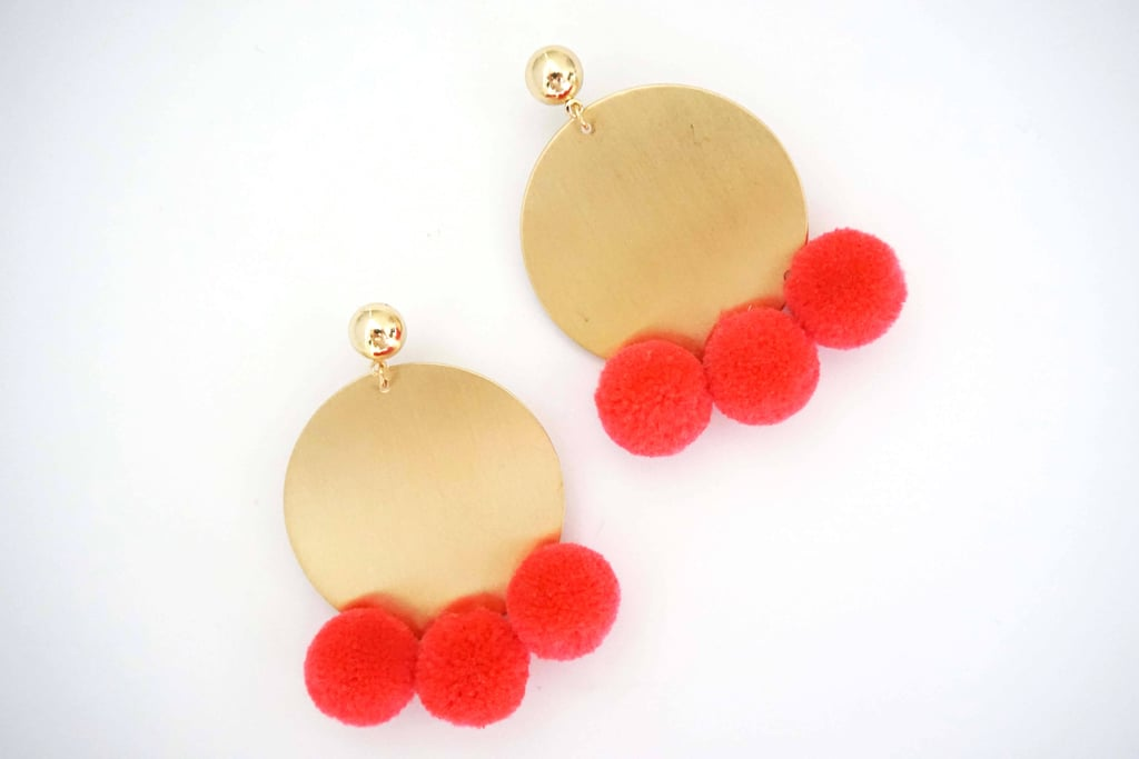Pink Pom-Pom and Gold Circle Statement Earrings