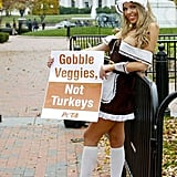 PETA attempts to turn Thanksgiving into a sexy costume holiday by having sexed-up pilgrims hand out tofurky in Washington DC last Fall.