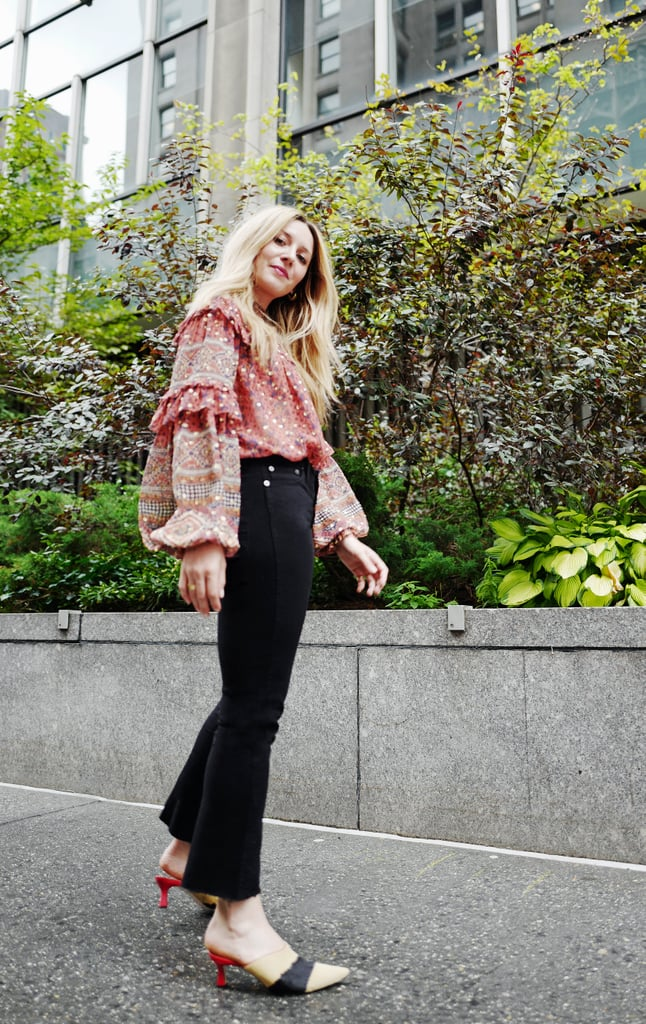 Style Your Jeans With: A Blouse, Mules, and Earrings