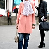 Elisa Nalin showed off bright color in just the right doses and shades of pastels on her furry scarf, sorbet-hued coat, and pointed-toe heels.
