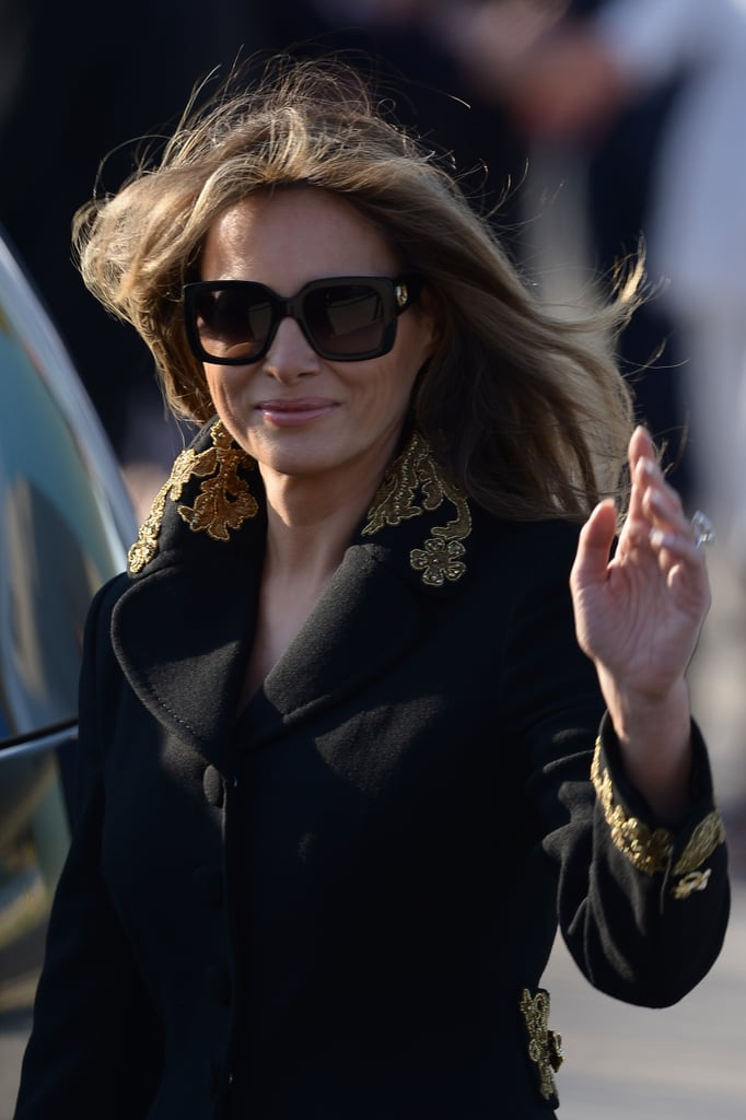 Melania wore the same Gucci pair with an embroidered coat for arrival in Rome in May 2017.