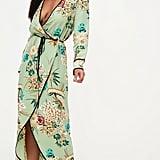 Sage Green Floral Wrap Ankle Grazer Maxi Dress
