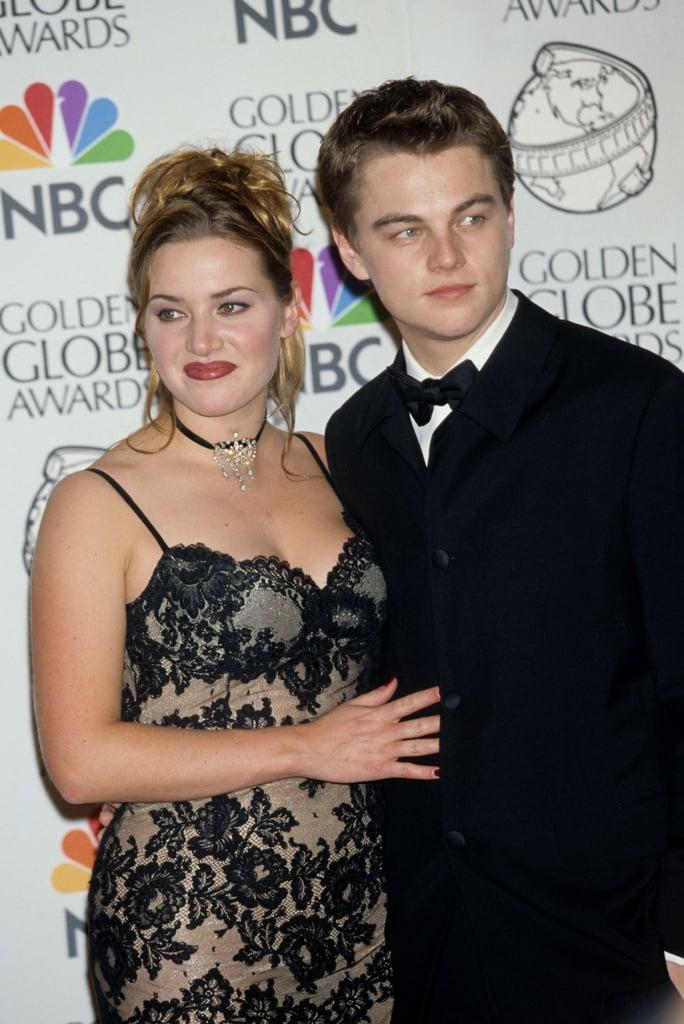 Titanic stars Leonardo DiCaprio and Kate Winslet posed in the press room at the Golden Globe Awards in 1998.