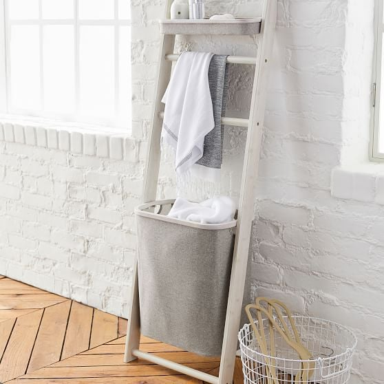 Wall Leaning Storage Rack With Hamper
