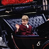 Prince William hitched a ride in a carriage with Princess Diana for the Trooping the Colour ceremony in June 1988 in London.