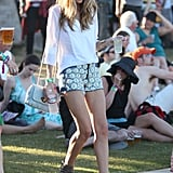 Rosie Huntington-Whiteley opted for daisy-adorned cutoffs and booties.