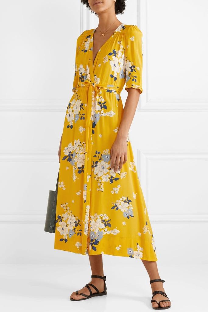 SEA Pia floral-print crepe de chine wrap dress