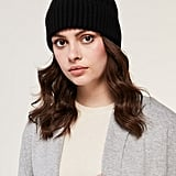 CIEL Rib Knit Hat With Removable Feather Pom Pom