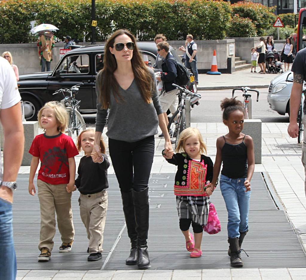 Angelina Jolie, Shiloh Jolie-Pitt, Zahara Jolie-Pitt, Vivienne Jolie-Pitt, and Knox Jolie-Pitt together in London.
