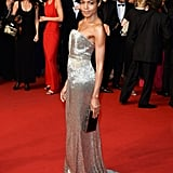 Naomie Harris looked stunning in a silver frock.