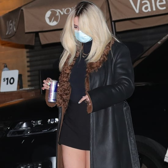 Selena Gomez's Black Miniskirt With a Shearling Trench Coat