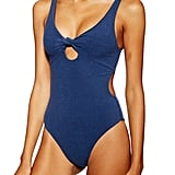 Topshop Knot Velour One-Piece Swimsuit