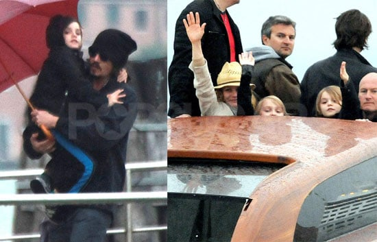 Pictures of Johnny Depp With Vanessa Paradis, Jack Depp, and Lily-Rose Depp in Venice
