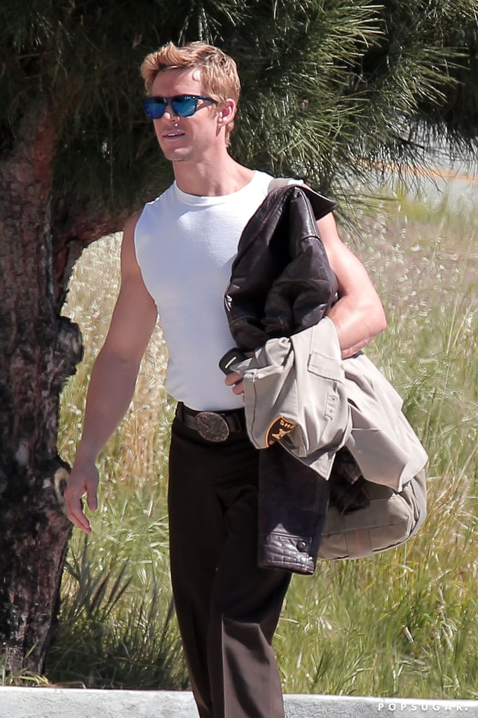 Ryan Kwanten showed off his arms in a white tank top.