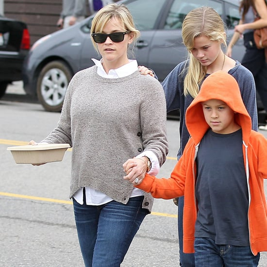 Reese Witherspoon Wearing Sweater With Elbow Patches
