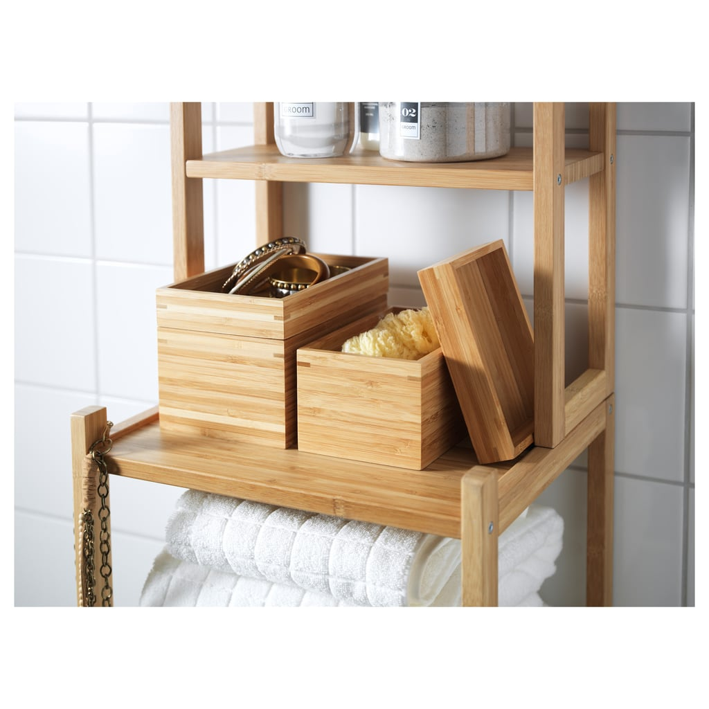In the bath, office, kitchen . . . use the lids to keep the content of these bamboo boxes ($14.99 for two)  hidden, or turn over and re-purpose as mini-trays.
