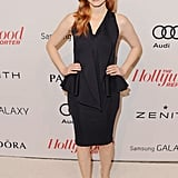 Jessica Chastain took the chic route in a peplum-trimmed black cocktail dress from Givenchy's Resort 2012 collection.