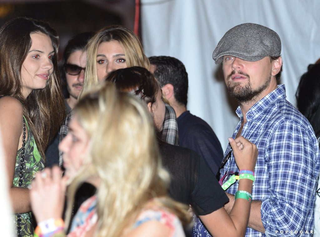 Leonardo DiCaprio chatted with a group of friends.