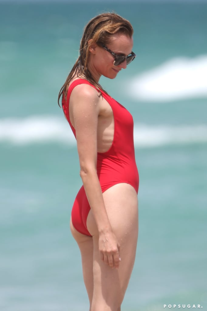 Diane Kruger S Red One Piece Swimsuit Popsugar Fashion