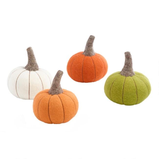 Felted Wool Pumpkins Set of Four