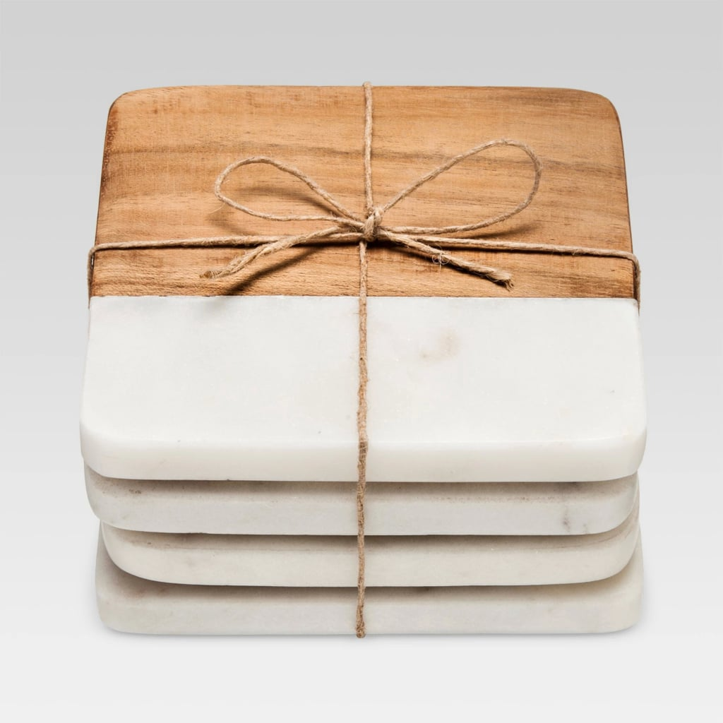 Marble and Acacia Wood Coasters