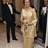 Queen Sofía in a Cream Silk Gown, April 2016