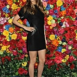 Lily Aldridge wore a tight black dress to the Ferragamo party in NYC.