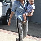 January Jones brought baby Xander Jones along for a meeting in LA.