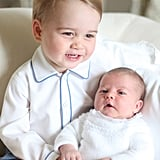 George showed off his smile while holding his baby sister, Charlotte, in May 2015, less than a month after her picture-perfect debut.