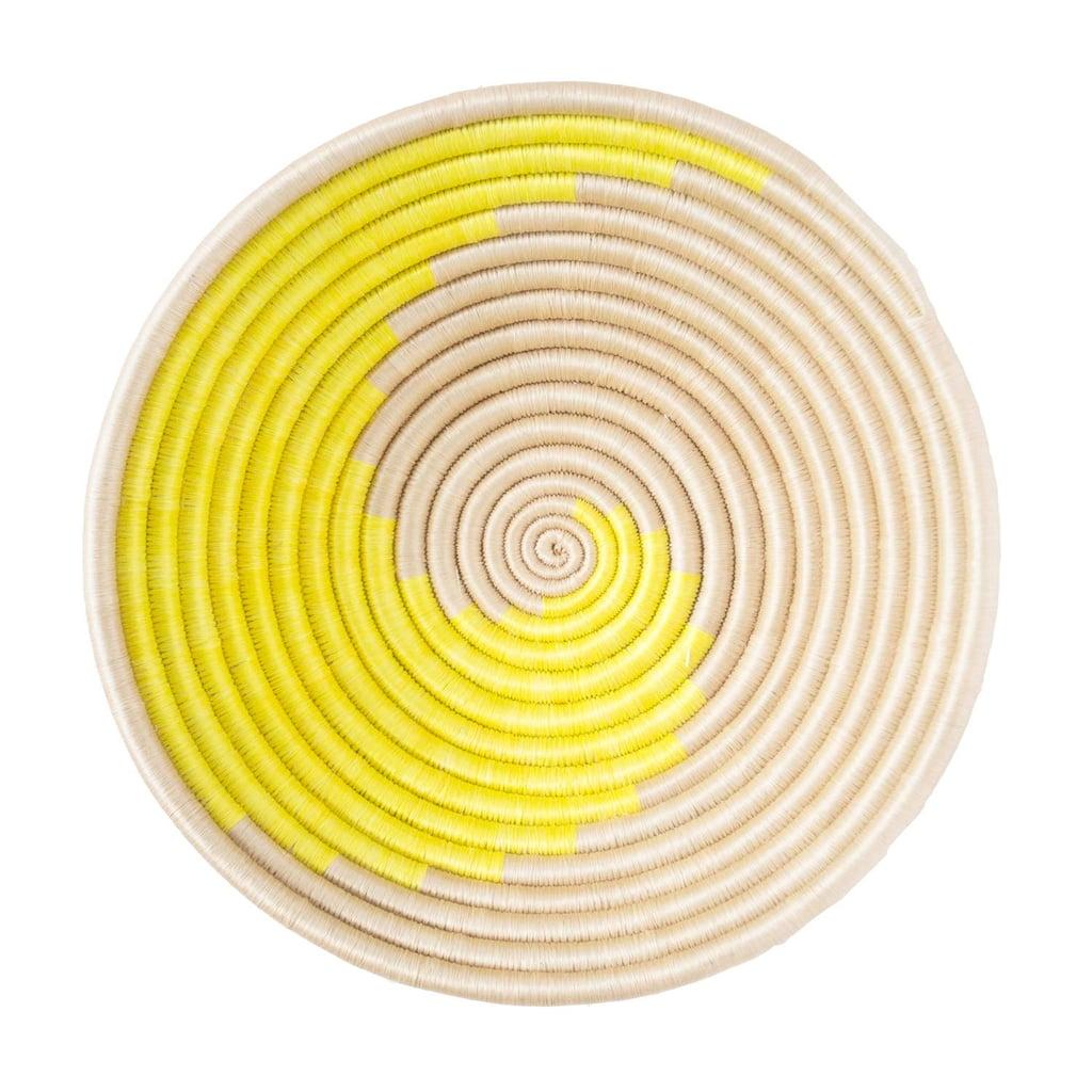 A Beautiful Basket: Indego Africa Handmade 12x3 Citron Swirl Plateau Woven Basket