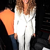 Beyoncé stunned in chic white suiting at Jay-Z's All-Star Weekend party in Houston.